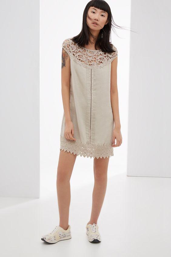 vestido con detalles de crochet vestidos adolfo