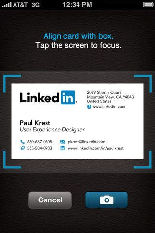 CardMunch - Business Card Reader by LinkedIn ($0.00) * Convert business cards to address book contacts, and then add them as connections on LinkedIn. * View relevant LinkedIn profile info, connections in common, work history, and more, for the cards you scan. * Improved card capture experience for faster and easier card scanning.  * Manual transcription ensures high accuracy for scanned cards. * Newly revamped user interface and visual experience