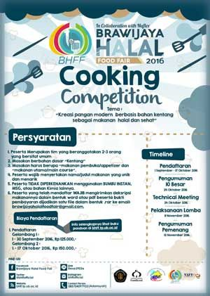 #BHFF #BrawijayaHalalFoodFair #CookingCompetition #UniversitasBrawijaya #Malang Brawijaya Halal Food Fair 2016 Cooking Competition  DEADLINE: 17 Oktober 2016  http://infosayembara.com/info-lomba.php?judul=brawijaya-halal-food-fair-2016-cooking-competition