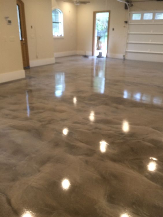 Gray white epoxy metallic floor garage pinterest for Concrete basement floor