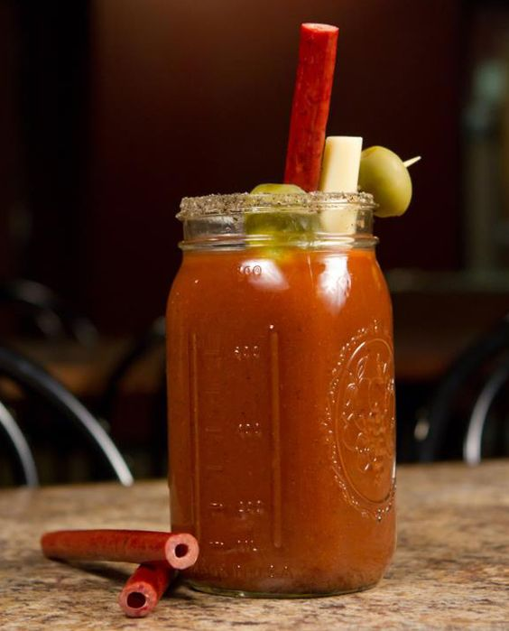 Bloody Mary w/ beef jerky straw.