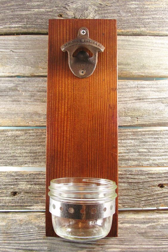 Bottle opener upcycled wood wall mount mason jar cap for Bottle cap wall