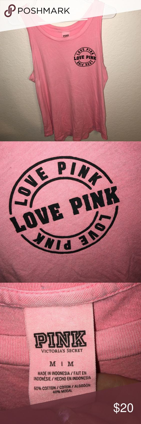 PINK tank top Size medium. Does have a small stain under left arm as shown. PINK Victoria's Secret Tops Tank Tops