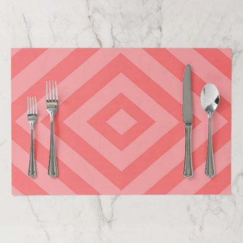Abstract Geometric Pattern Pink Paper Placemat Custom Placemats Christmas Paper Placemats