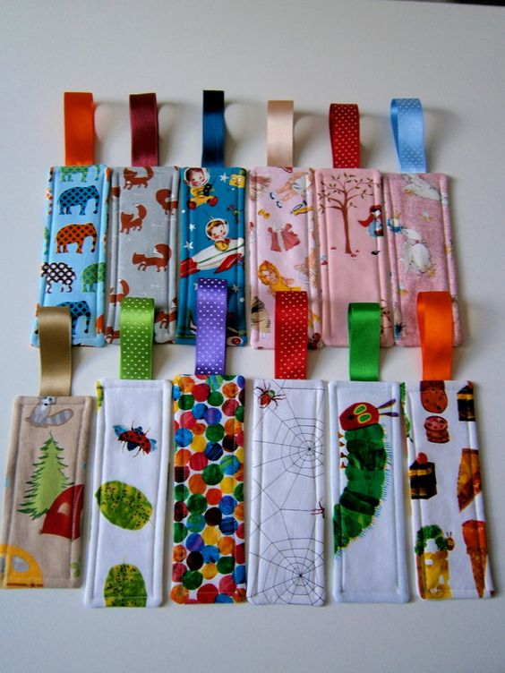 fabric bookmarks - Great Christmas gift for Classrooms. Good Way to use up your scrap cloth.: