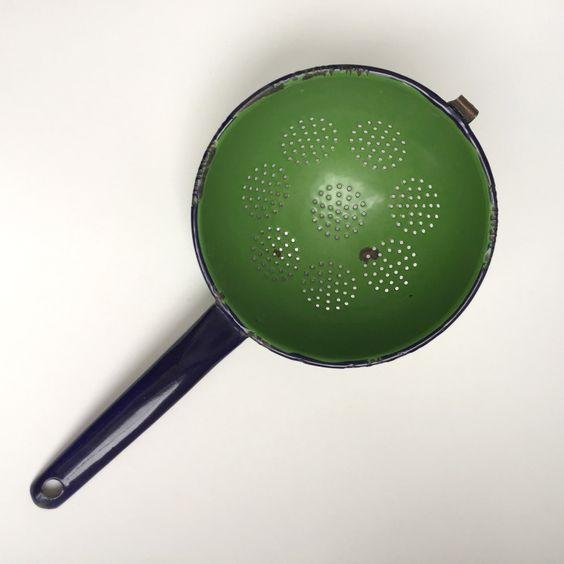 Vintage Green and Blue Strainer with Handle by PowersMod on Etsy