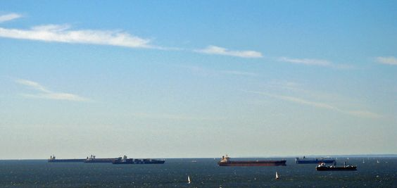 the Chesapeake Bay with barges and sailboats
