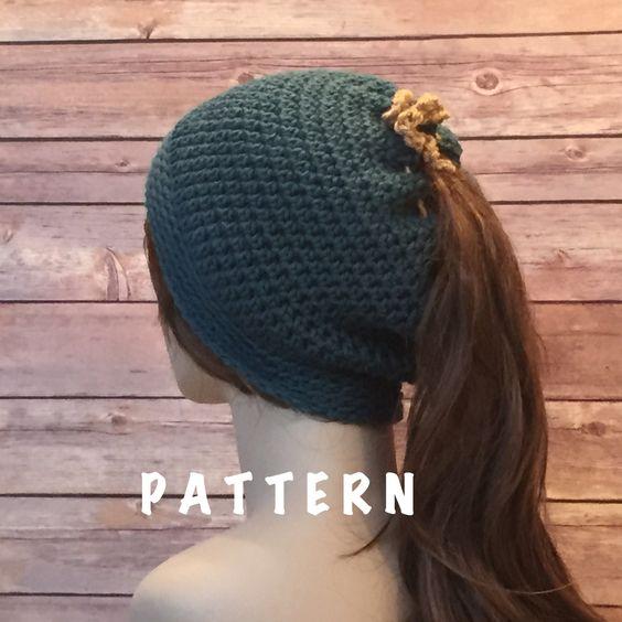 Knitting Pattern For Running Hat : Messy Bun Beanie Pattern, Runners Beanie Hat Pattern, Ponytail Hole Hat,...