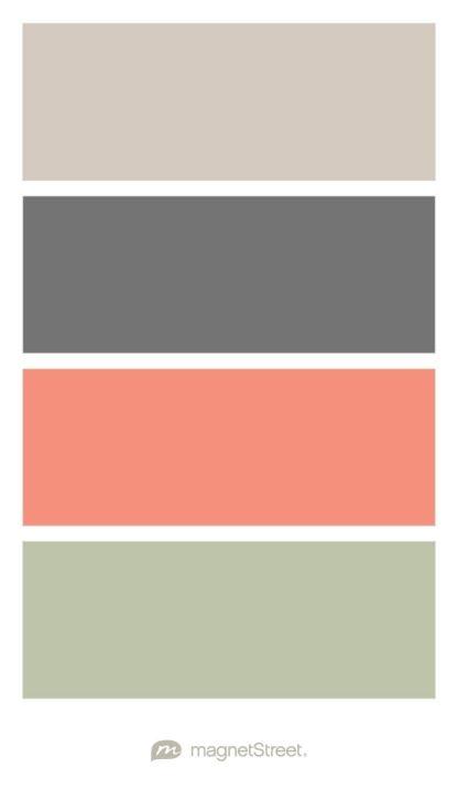 Color Palette For Bedroom sugar, charcoal, coral, and sage wedding color palette - custom