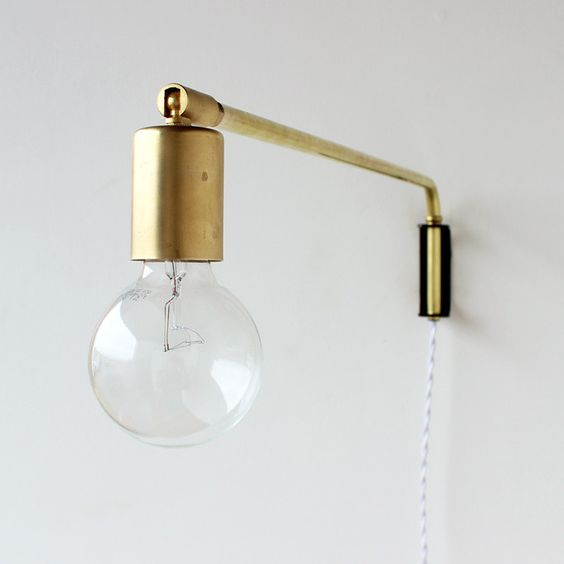 Brass swing arm wall lamp with wood wall mount. design: light Pinterest Wall mount, Lamps ...