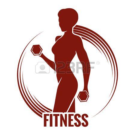 Logo Gimnasio emblema con siluetas de mujer musculosos La mujer sostiene pesas S…
