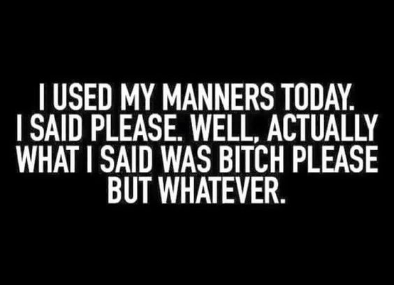 I used my manners today. I said please. Well, actually what I said was bitch please but whatever.