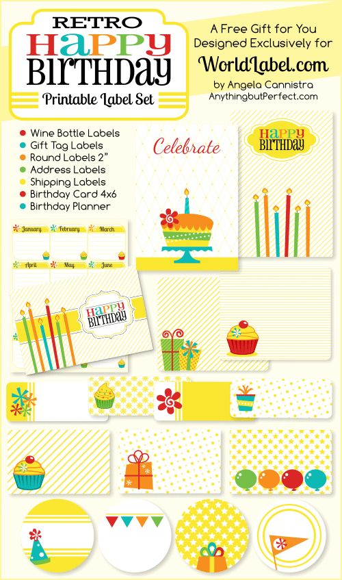 Retro Happy Birthday Label Set. Including birthday card and planner. Designed by ABP, available as an exclusive gift from WorldLabel.com.