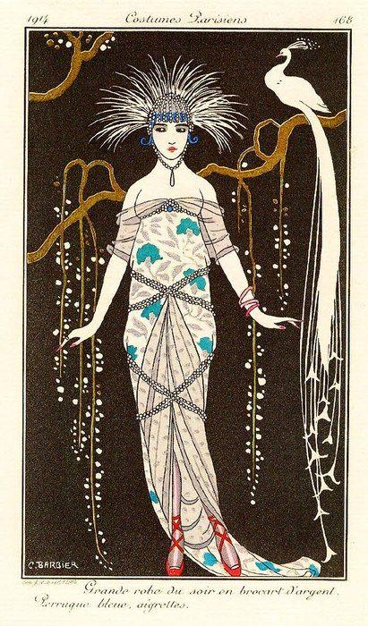 """Illustration de mode française : Georges Barbier, """"grande robe du soir en brocard d'argent..."""", dans """"costumes parisiens"""", 1914, paon"""