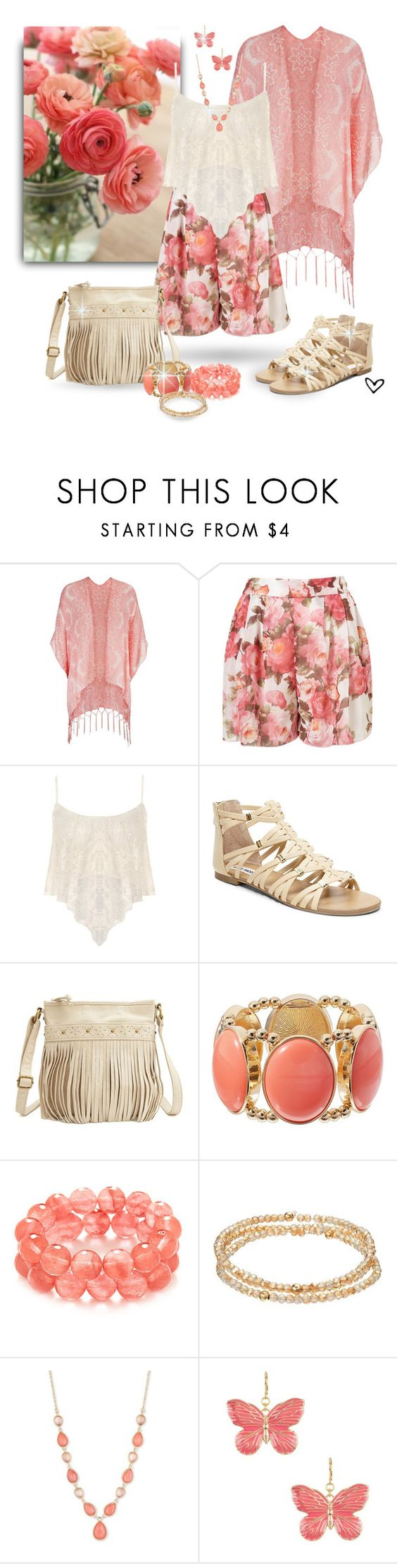 """~Dress Up~ Floral Print Shorts ~"" by justwanderingon ❤ liked on Polyvore featuring maurices, Papermoon, Steve Madden, Charlotte Russe, LC Lauren Conrad, Vintage America, Kenneth Jay Lane and printedshorts"