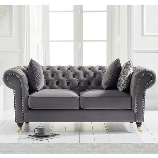 Holbrook Chesterfield 2 Seater Sofa In Grey Velvet Furniture In Fashion Fabric Sofa Uk Chesterfield Sofa Living Room Best Leather Sofa