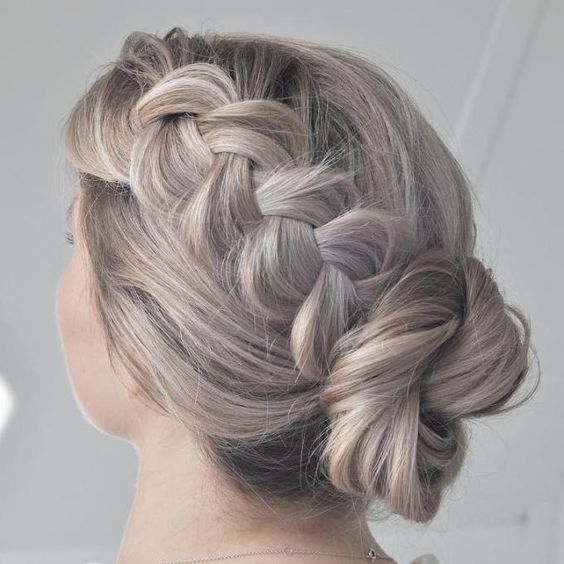 Easy Twisted Bun With A Braid Updo