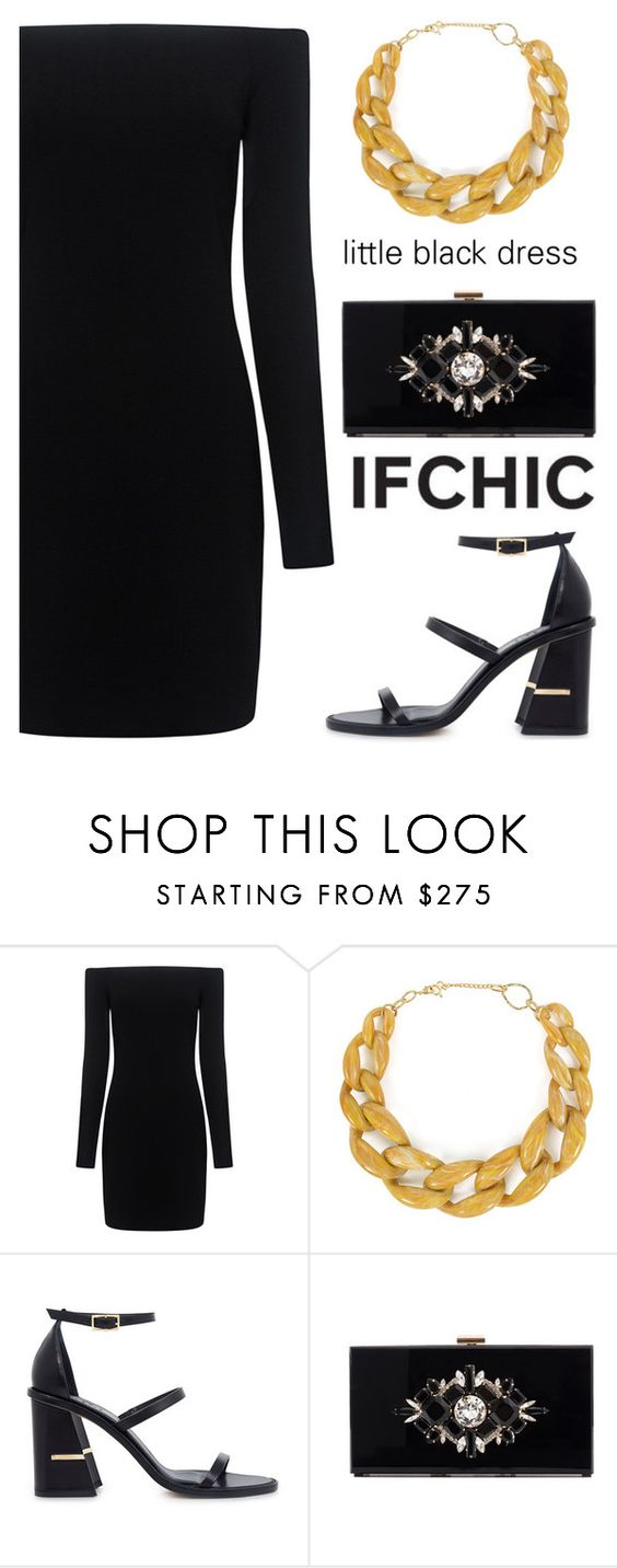 """TIBI off-the-shoulder sleek mini dress"" by ifchic ❤ liked on Polyvore featuring DIANA BROUSSARD, TIBI and Noir"