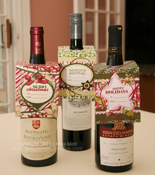 Christmas Wine Bottle Tags   Perfect Hostess Gift. Templates And  Print Ready Downloads From