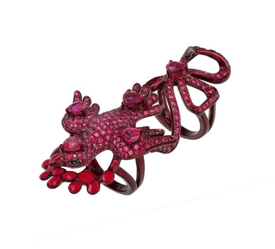 Lydia Courteille - Collection The Scarlet Empress - ring of red rhodium gold, diamonds, rubies, rubellites
