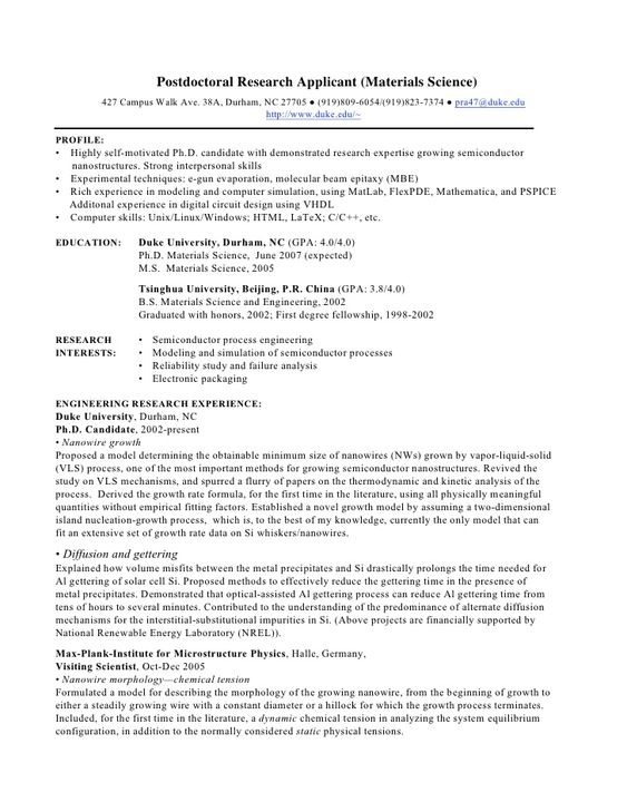 Apparently this type of resume, with a profile, rather than a - semiconductor engineer sample resume