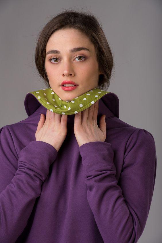 Sweatshirts - Lila Sweatshirt mit großem Kragen - ein Designerstück von lovecuts…