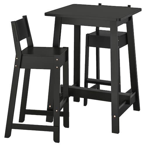 Jokkmokk Bar Table And 4 Bar Stools Black Brown Bar Stools