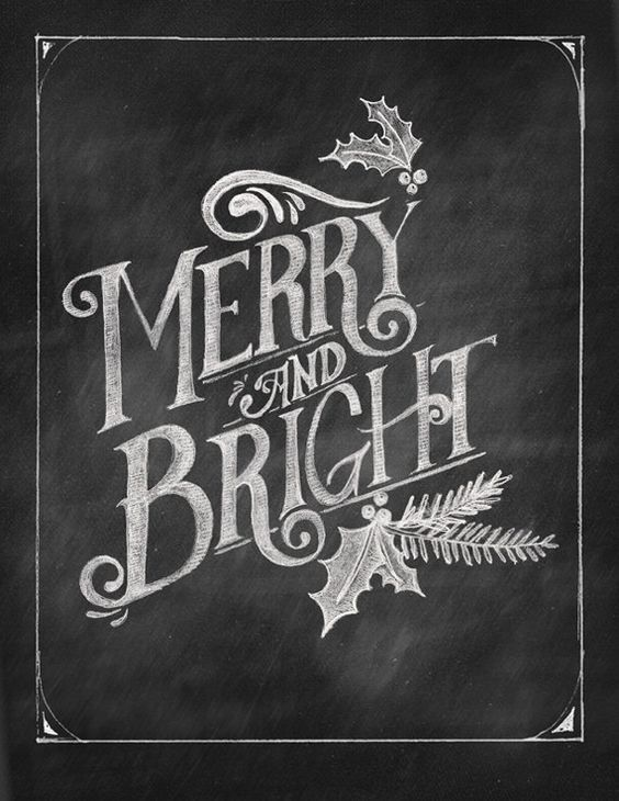Merry & Bright Chalkboard Art Printable by shopBubblegumAlley