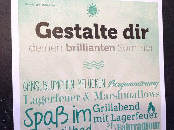 Gestalte dir deinen brillianten Sommer mit unserer wunderbaren To-Do Liste auf www.brilliant-looks.de!