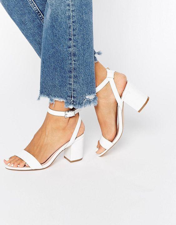 Image 1 of Faith Drake White Barely There Kitten heel Sandals