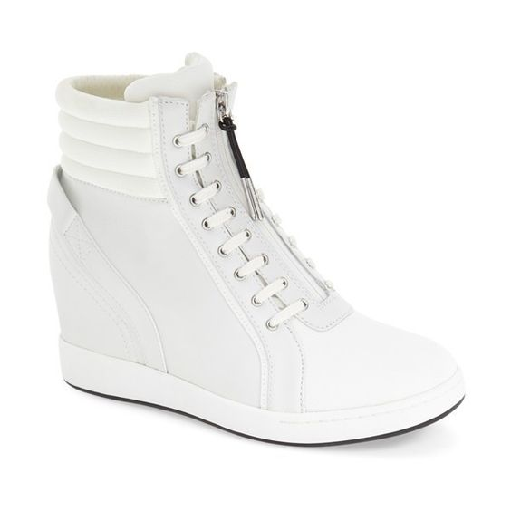 """L.A.M.B. 'Georgi' Hidden Wedge Sneaker, 3"""" heel ($300) ❤ liked on Polyvore featuring shoes, sneakers, white leather, leather sneakers, white sneakers, wedge sneakers, hi top wedge sneakers and white leather high tops"""