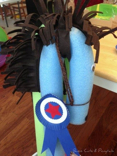 Pool Noodle Horse and Blue Ribbon Craft