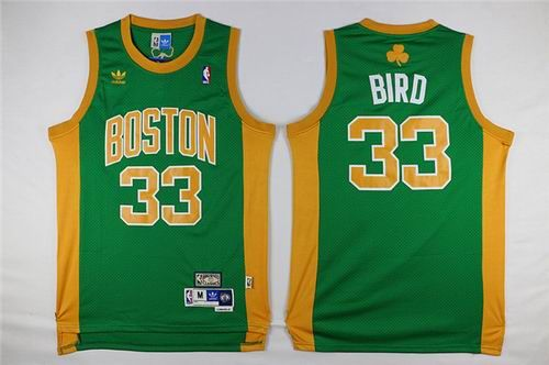 NBA Boston Celtics Larry Bird #33 Kelly Green Gold Number Hardwood Classics Stitched Jersey