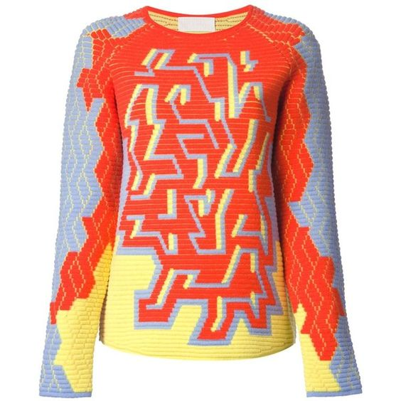 Peter Pilotto Pac Intarsia Sweater (€540) ❤ liked on Polyvore featuring tops, sweaters, multicolour, multi color sweater, ribbed top, intarsia sweater, peter pilotto and red top