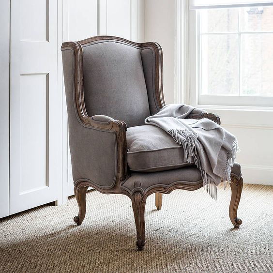 louis dove grey french armchair by alison at home | notonthehighstreet.com