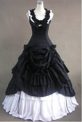 long lolita dress black and white