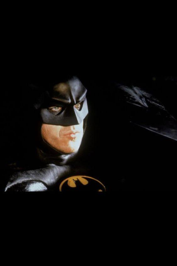 Scene of Michael Keaton as Batman driving the Batmobile ...