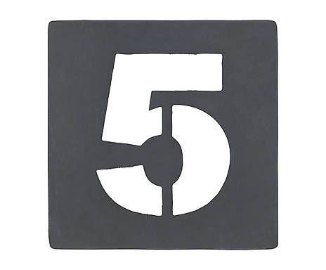 Chiffre décoratif pochoir n° 5, fer galvanisé - H10