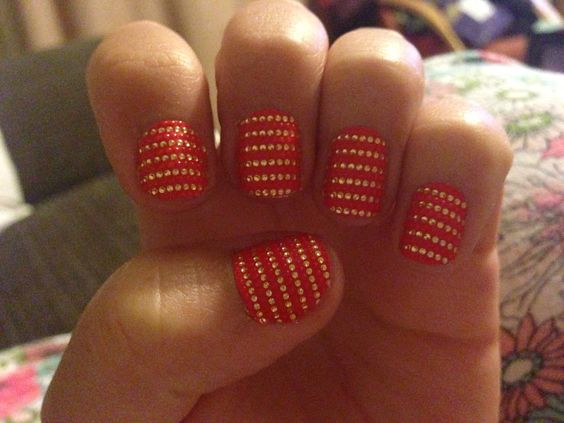 My red and gold nails