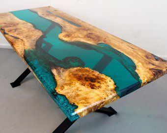 Resin River Dining Table Etsy Wood Resin Table Blue Dining