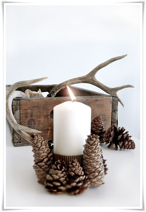 @O.B. Wellness Baron  Pinecone candle holder - 14 Amazing DIY Rustic Christmas Decorations: