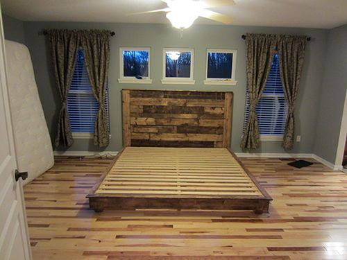 How to make a king sized platform bed with a headboard to for How to make a platform bed out of pallets