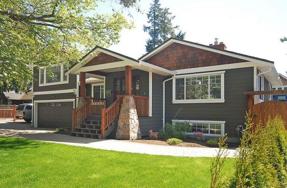 Craftsman cedar shingles and shake on pinterest for Tri level home makeovers