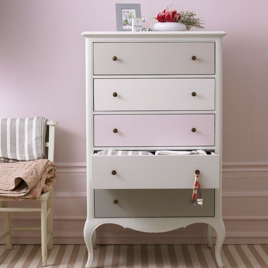 Repaint furniture in varying colours within the same palette; love it!
