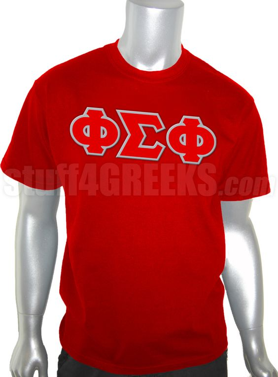 Cardinal red Phi Sigma Phi t-shirt with the Greek letters across the chest.