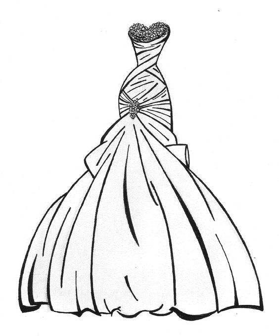 Dress Coloring Pages Wedding