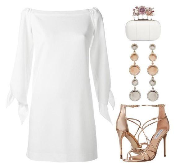 """""""Ivory White & Rose Gold'"""" by dianefantasy ❤ liked on Polyvore featuring TIBI, Alexander McQueen and Steve Madden"""