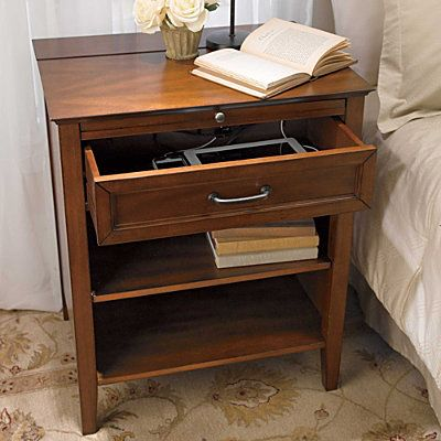 Side Table With Charging Station The Roomy Drawer