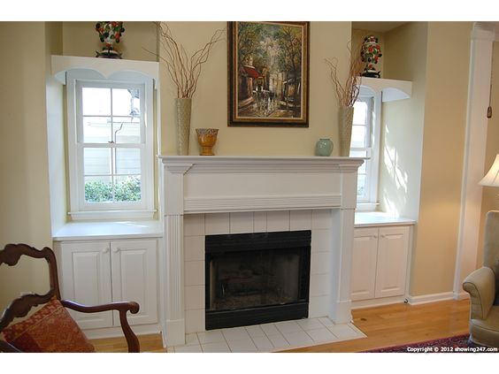 Fireplaces built ins and window on pinterest for Fireplace with windows on each side