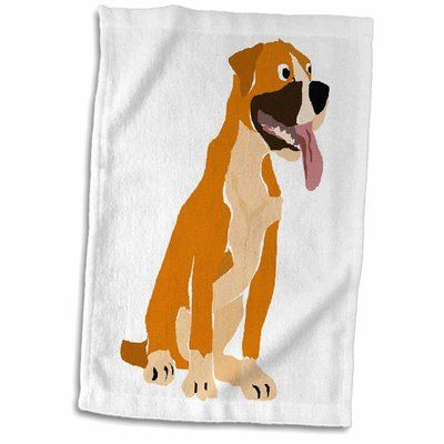 East Urban Home Yoselin Funny Boxer Puppy Dog Original Art Design Hand Towel Funny Boxer Puppies Boxer Puppies